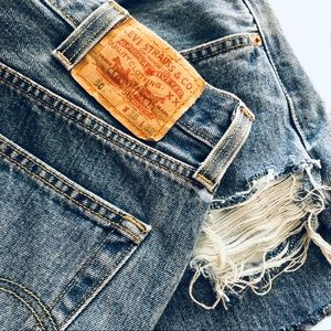 Levi's 501 Button Fly High Rise Distressed Shorts